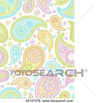 Clip Art of Colorful seamless paisley pattern. k5747378 ...