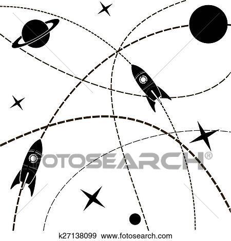 Vecteur, voyage mondial, carte, à, rokets, parcours, carte