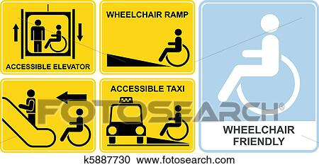 yellow wheelchair chair cover rentals las vegas clipart of sign k5887730 search clip art illustration accessible taxi elevator ramp escalator friendly set vector icons and black signs isolated illustrations