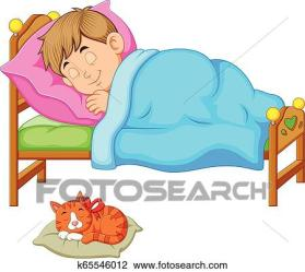 sleeping clipart bed boy kitten fotosearch clip graphic