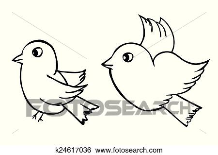Hand Draw Sketch Two Outline Birds Clip Art K24617036 Fotosearch