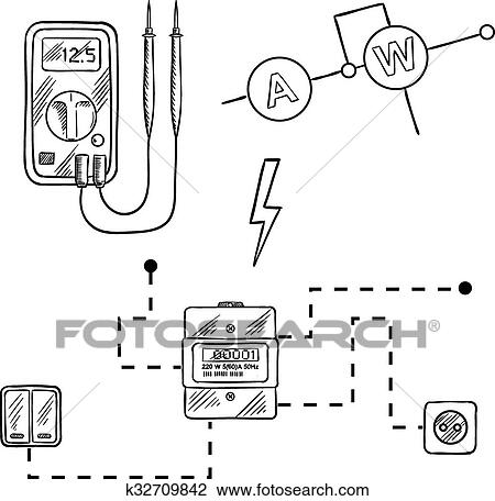 Voltmeter, electricity meter and electrical circuit sketch