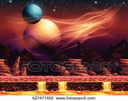 Illustrazione di uno fantastico paesaggio  il rosso pianeti Clipart  k27471455