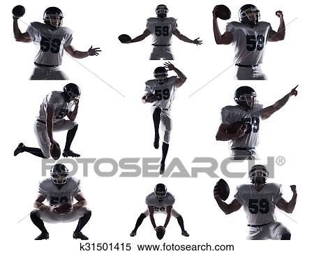 Stock Image of Football player. Collage of American