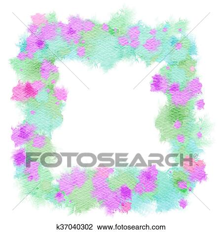 abstract watercolor flowers frame