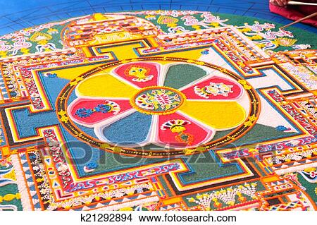 Tibetian mandala from colored sand Picture   k21292894   Fotosearch