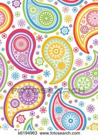 Clipart of Colorful seamless paisley pattern. k6194963 ...