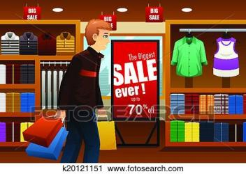 mall shopping clipart clip fotosearch clothing inside vector illustration