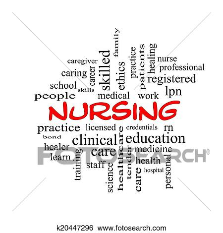 Nursing Word Cloud Concept in red caps Stock Images k20447296