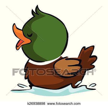 clip art of duck swimming k26938898