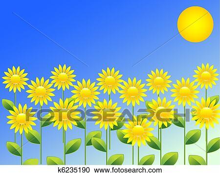 剪圖Clipart - 春天. 背景;. 由于. 向日葵 k6235190 - 搜尋美工圖片、插圖壁畫、圖示和向量 EPS 圖像 - k6235190.eps