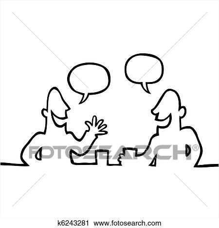 Clipart of Two people having a friendly conversation