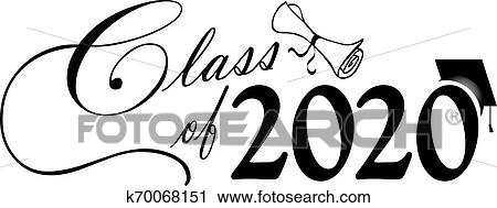 Class of 2020 Script with Diploma and Cap B&W Clipart
