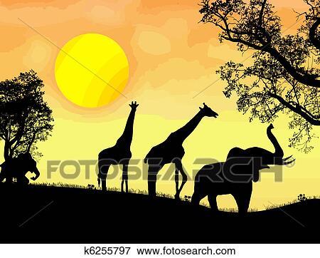 Clip Art  africano safari tema k6255797  Cerca Clipart Poster illustrazioni Disegni e