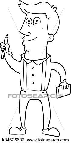 Schwarz Weiß Karikatur Mann Mit Notizbuch Und Stift Clipart