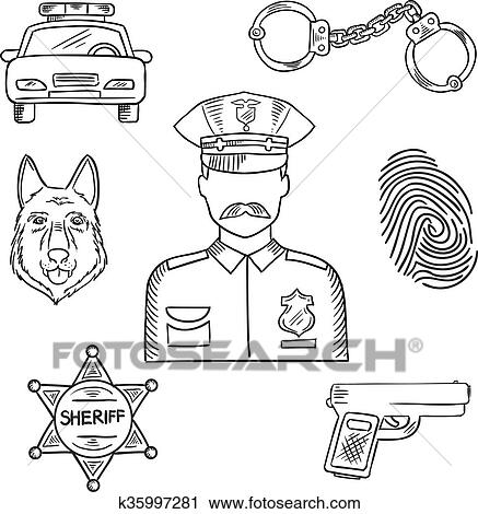 Clipart of Police officer or policeman profession sketch