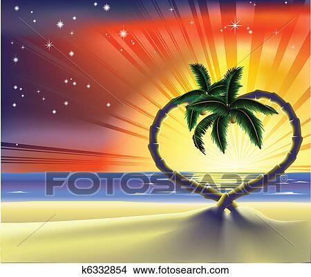 clipart of romantic beach heart