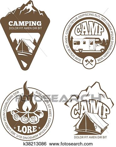 hiking and camping retro