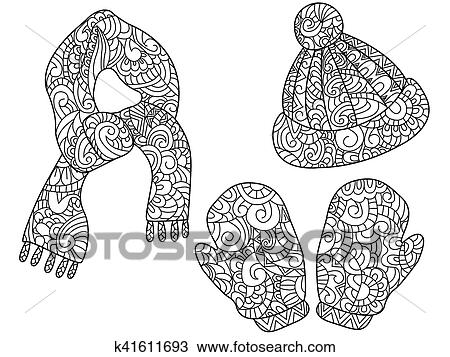 Warm clothes, hat, gloves, mittens, scarf coloring vector