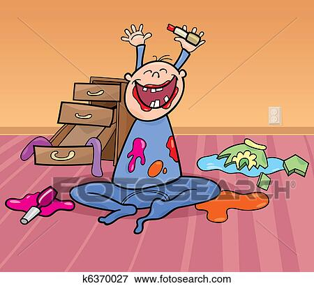 Baby boy and mess Clip Art | k6370027 | Fotosearch