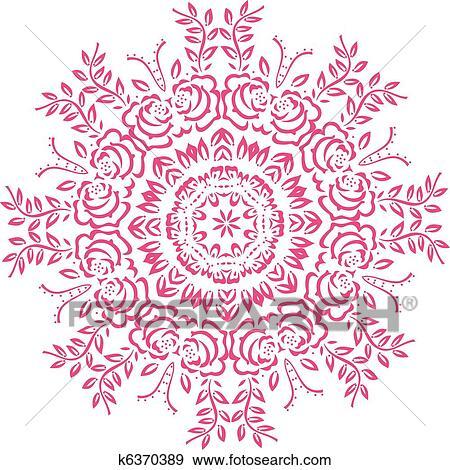 Clip Art of Stencil Mandala Indian Design k6370389