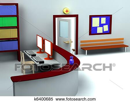 healthy computer chair modern leather dining chairs canada stock illustration of 3d hospital waiting room and registry k6400685 - search clipart ...