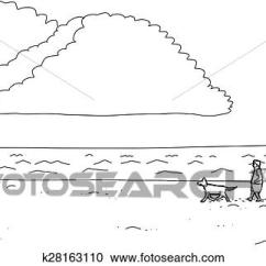 Dog Diagram Outline Large 2005 Grand Cherokee Radio Wiring Clipart Of Man Walking On Beach K28163110 Search Cartoon Along Ocean