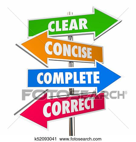 Clear Concise Complete Correct Communication 4 Arrow Signs 3d Illustration Stock Image | k52093041 | Fotosearch