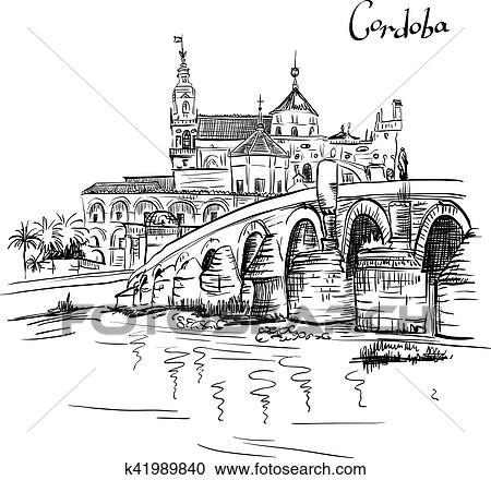 Vector Mezquita and Roman bridge in Cordoba, Spain Clipart
