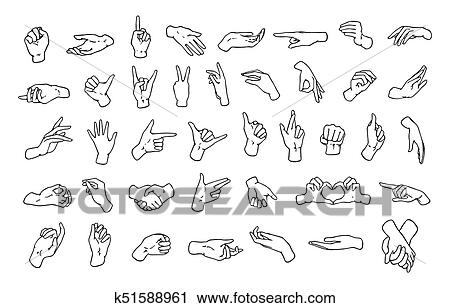 Set of various hand gestures, symbols shown with palm and