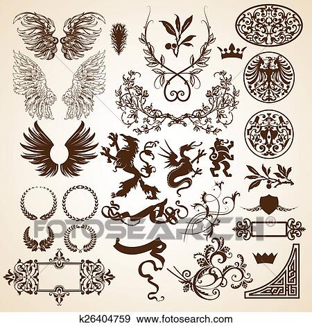 Heraldic elements Stock Illustration | k26404759 | Fotosearch