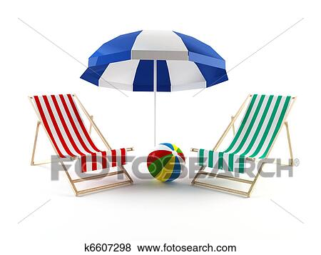 beach chair and umbrella clipart rollator transport combo stock illustration of chairs k6607298 search 3d rendering a couple under an