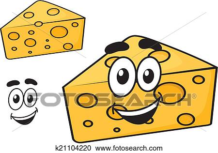 Clipart of Smiling happy cartoon wedge of cheese k21104220