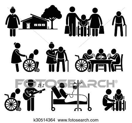 Clipart of Elderly Care Nursing Old Folks Home k30514364