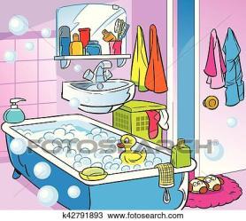 Interior cartoon bathroom Clipart k42791893 Fotosearch