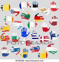 Archivio Illustrazioni - mani, con, unione europea, paesi ...