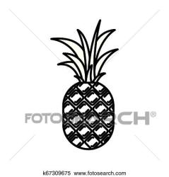 Black silhouette with pineapple fruit Clipart k67309675 Fotosearch