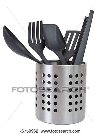 kitchen utensils holder cabinet replacement stock photo of in a utensil isolated against white background