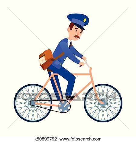 postman on bike delivering