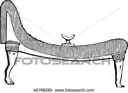 Clipart of Ancient Egyptian bed vintage engraving k6766285