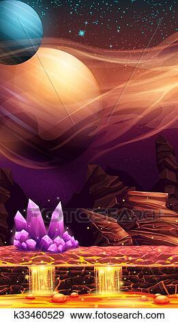 Illustrazione di fantastico paesaggio di pianeta rosso con viola cristalli Clip Art