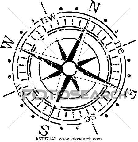 Grunge vector compass Clipart k6787143