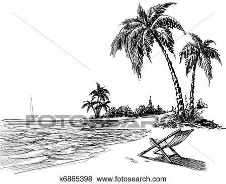 Clip Art  estate spiaggia illustrazione matita k6865398