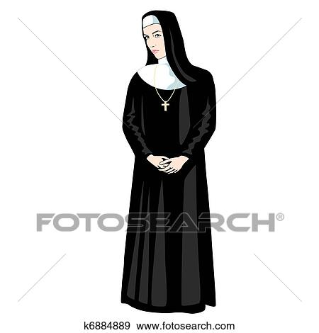 Stock Illustration - Nun with Cross. Fotosearch - Search Vector Clipart, Drawings, Print Murals, Illustrations, and EPS Graphics Images