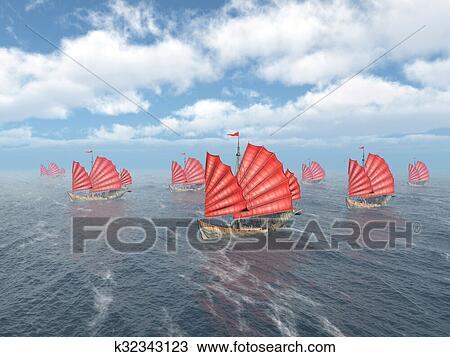 Fleet of Chinese junk ships Drawing | k32343123 | Fotosearch