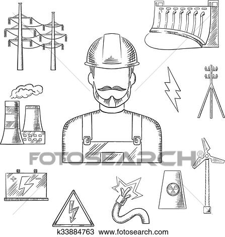 Clipart of Electricity and power industry icons sketches