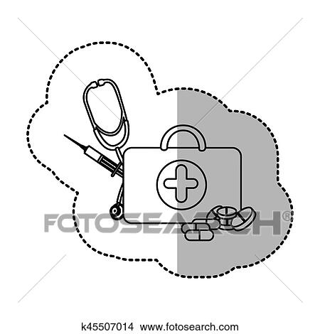 Contour suitcase health with stethoscope, syringe and