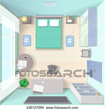 Bedroom interior design with bed wardrobe table top view