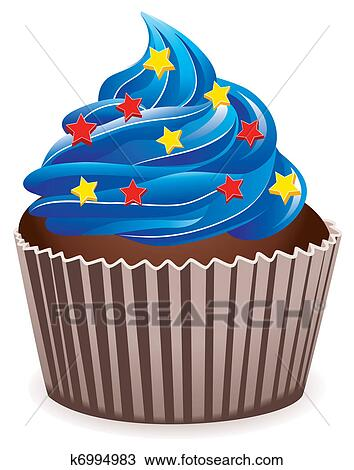 clipart of blue cupcake k6994983