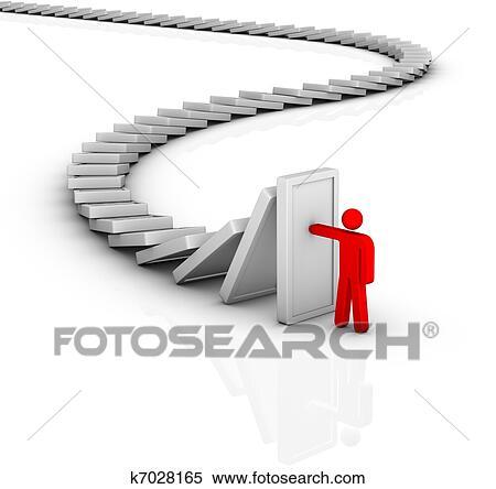 ドミノ 効果. そして. 問題解決 イラスト | k7028165 | Fotosearch